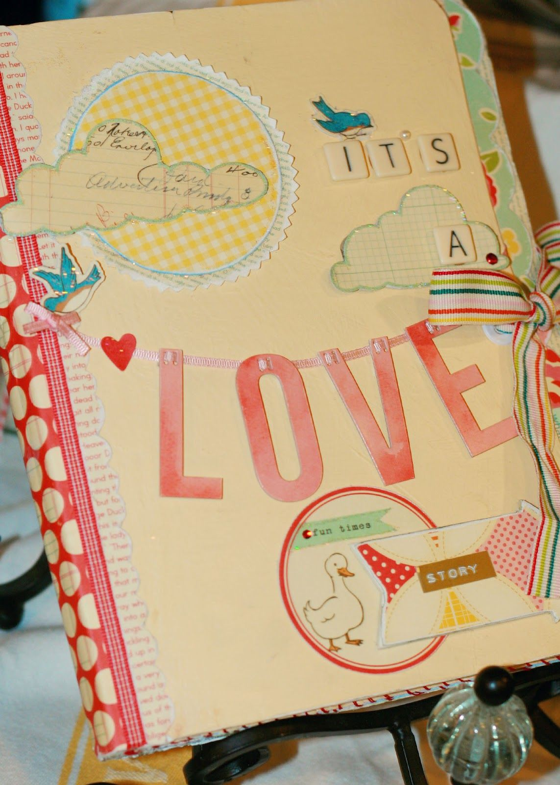 the Raspberry Balloon: Altered Composition Notebook, Scrapbook or Journal