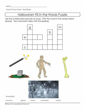 EASY Halloween Crossword Puzzle First Letters Picture Clues Word Bank