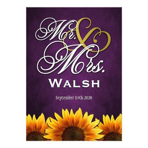 mr  mrs purple sunflower wedding invitations  sunflower wedding, invitation samples