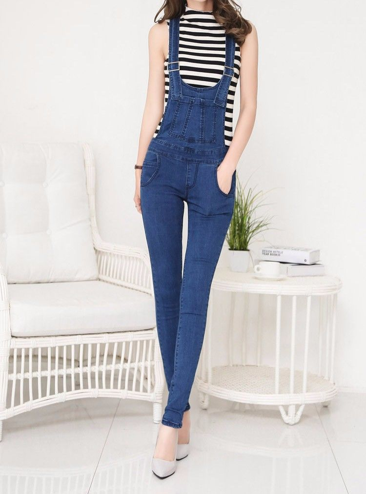 98c7c259159b J9347 2017 Womens Jumpsuits Sexy Bodycon Denim Suspender Pants Ladies  Trousers Jeans Overalls Stocks - Buy