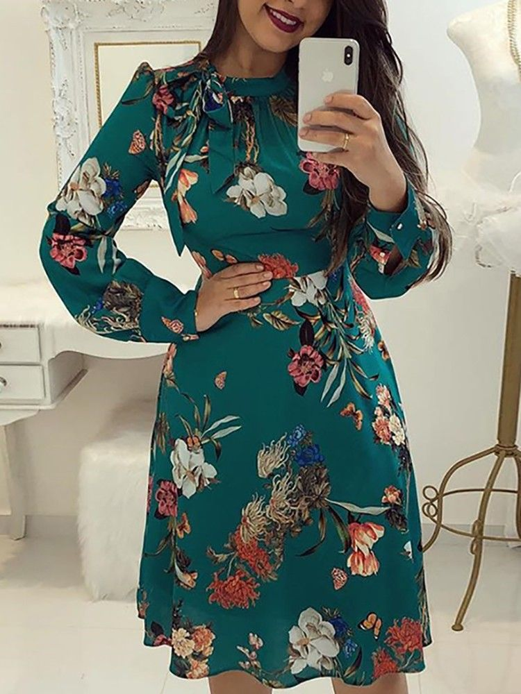 8354e7a47d5f3 Floral Print Tie Neck Long Sleeve Casual Dress | My Style in 2019 ...