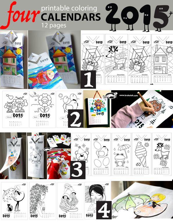 four printable colouring calendars - 2015