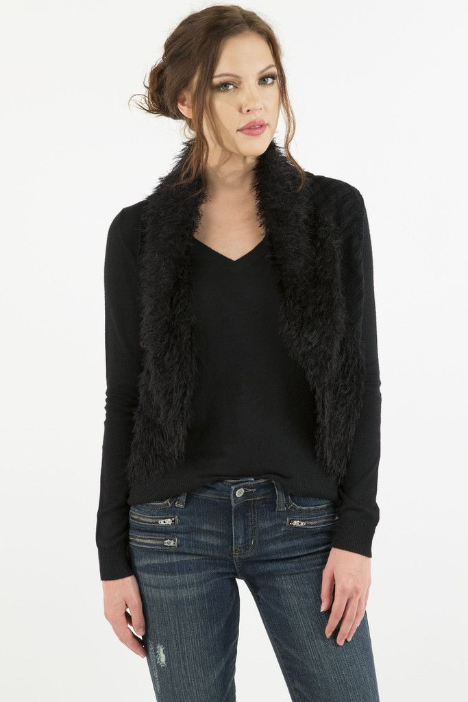 Faux Fur Collared Cable Knitted Sweater Vest by Prima Collection