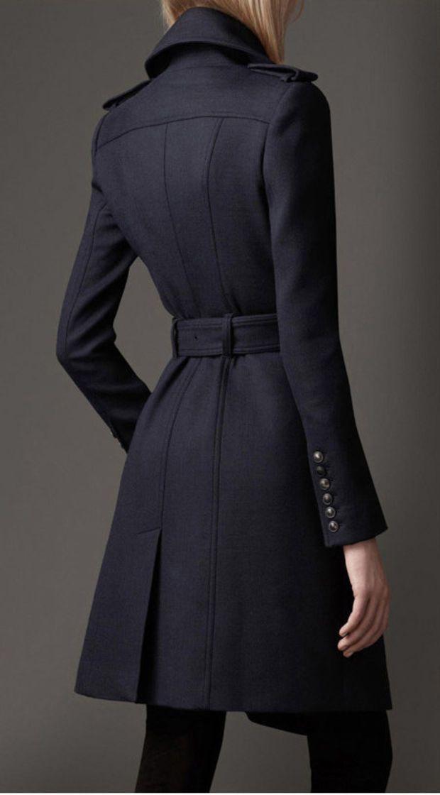 a63d828c6f4 Dark blue woolen thick women coat winter jacket parkas elegant women blouse  long woolen dust coat windcheater outer coat woolen jacket tops