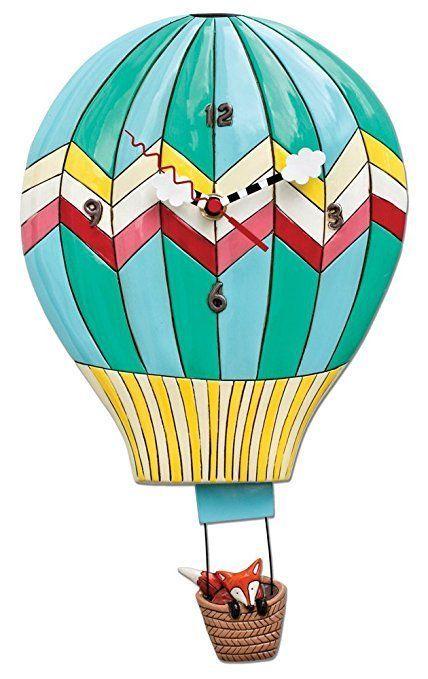 Allen Designs Hot Air Balloon Design Clock With Swinging Pendulum, Fox Aloft #AllenDesignsWallClocks