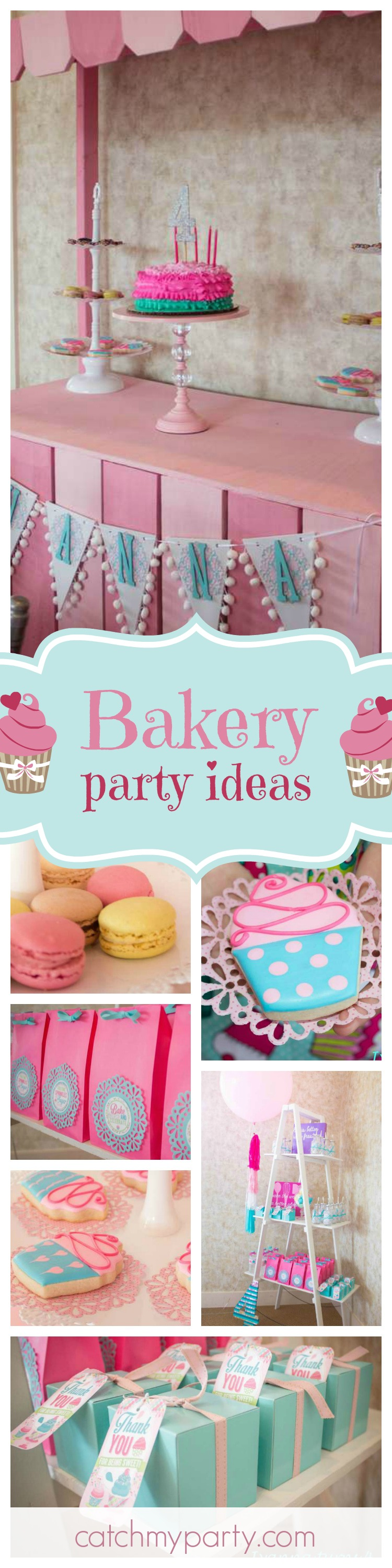 You can almost smell the delicious freshly baked cupcakes and cookies at this scrumptious little girls Bakery birthday party! See more party ideas and share yours at CatchMyParty.com