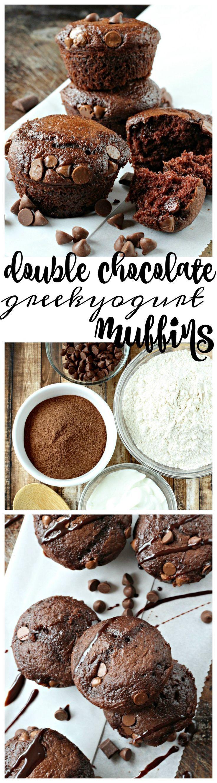 Enjoy double chocolate greek yogurt muffins made with