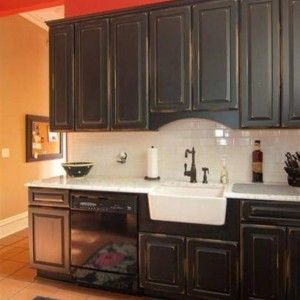 Distressed Black Kitchen Cabinets With Farmhouse Sink And Antique Style Faucet Suave Distressed Black Kitchen