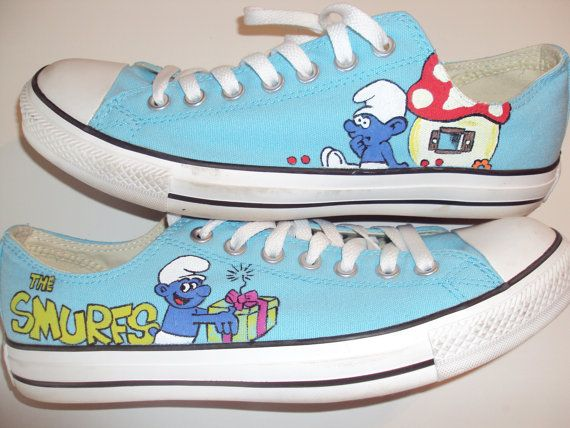 Smurf converse hand painted by IPaint4Kids on Etsy, $55.00