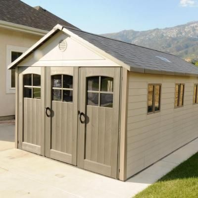 Lifetime 11 Ft X 21 Ft Storage Building With 9 Ft Wide Carriage Door 60026 The Home Depot Building A Wood Shed Built In Storage Building A Shed