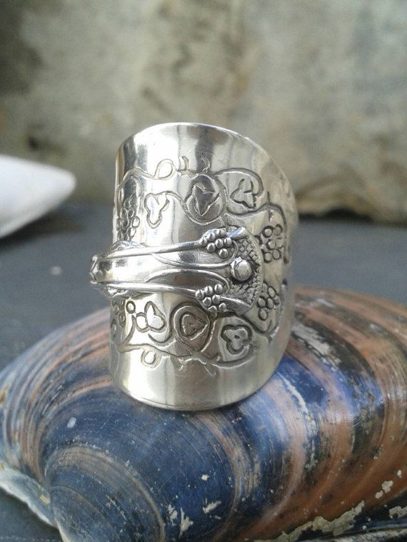 Silver Spoon Ring - Crafted from a Solid Silver GrapevineTeaspoon - Birmingham 1977 - Exquisite Jewellery Ltd - Handmade by Adrift Crafts