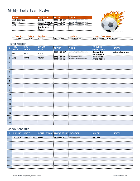 youth football roster templates