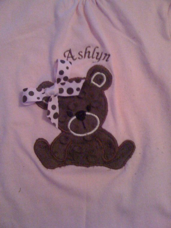Teddy Bear Appliqued Tee Shirt by jujuhorton on Etsy, $22.00