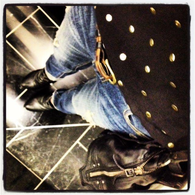 Black booties + distressed denim + cheetah belt + gold dot chiffon blouse     @Christina DeSmet | DeSmitten Instagram