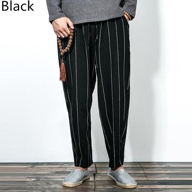 top Men loose linen blend casual pants breathable beach cropped trousers Retro Q