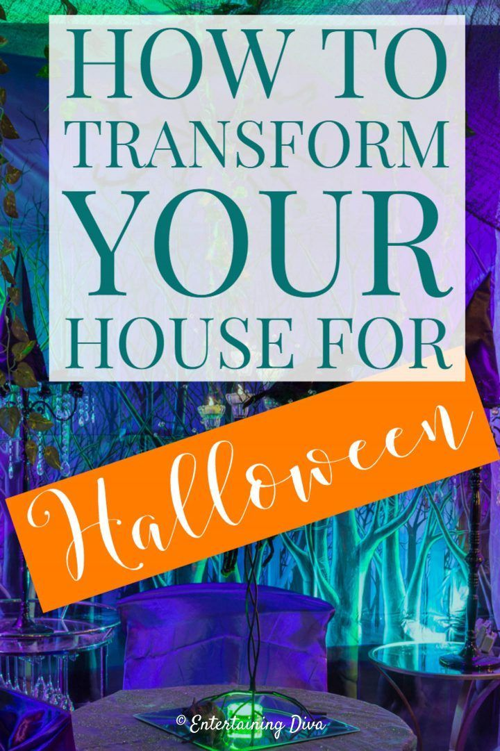 Convert your house into a haunted mansion for Halloween with these scene setters. Click through to find out where to get scene setters and how to install them. #halloweenobsession #halloween #halloweendecor #hauntedhouse #diyhalloween #halloweenindoordecor