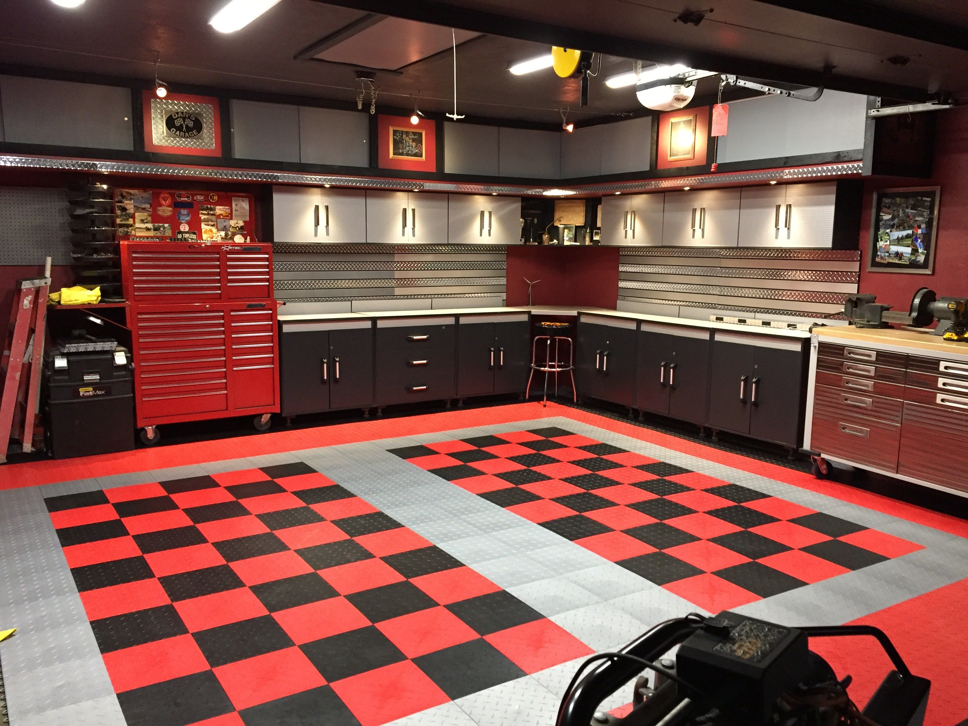 Dan S Black And Red Checkered Tile Garage Floor