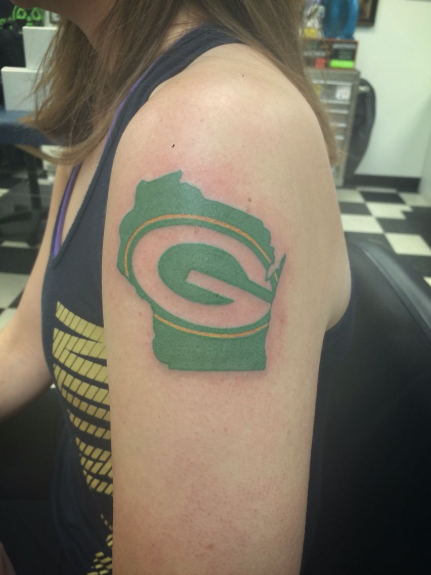 Packers Tattoo From Ken At Sonic Tattoos In Green Bay Packers Greenbay Tattoo With Images Green Bay Packers Tattoo Tattoos I Tattoo