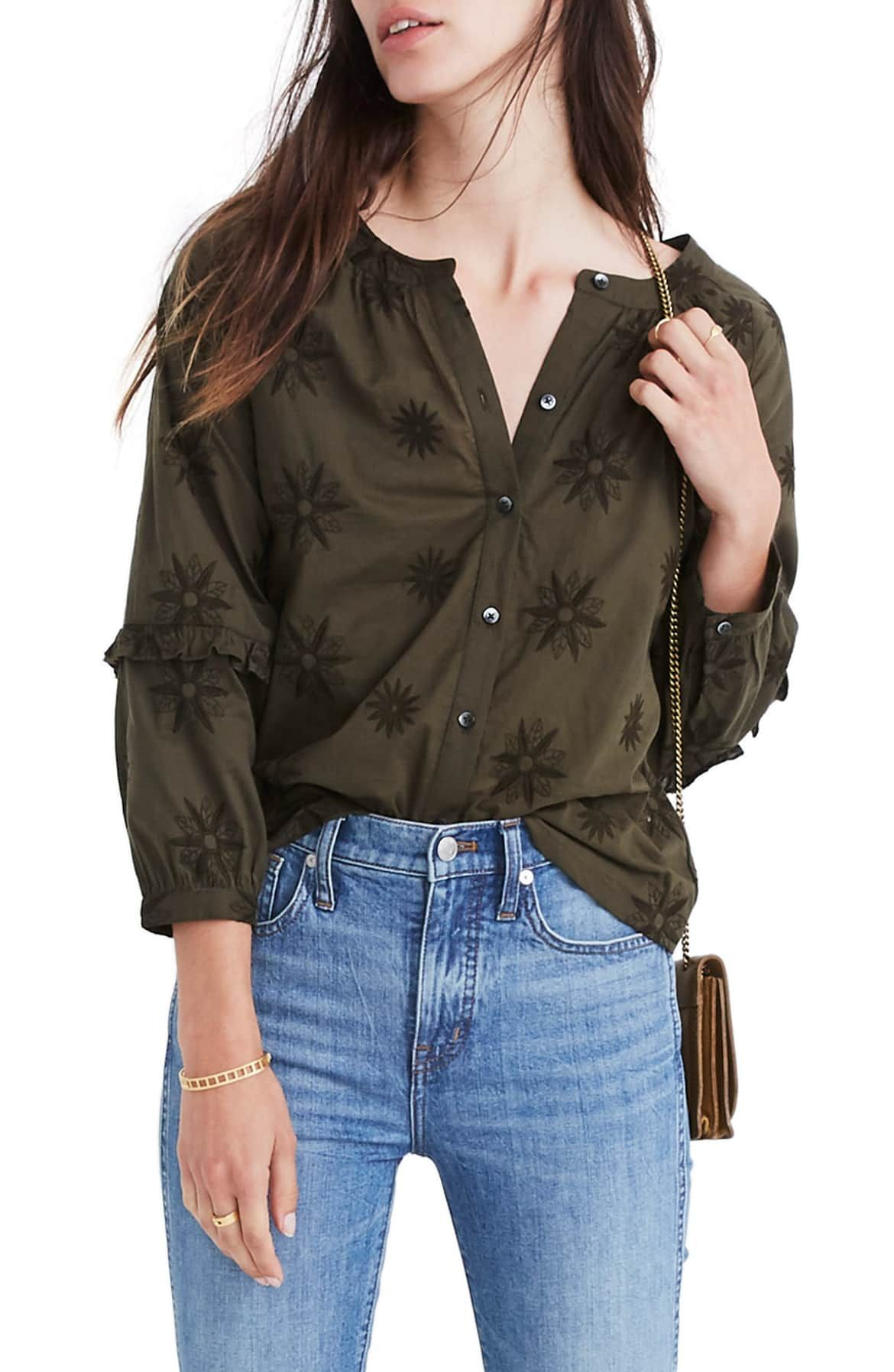64d788c03f Embroidered Bubble Sleeve Shirt