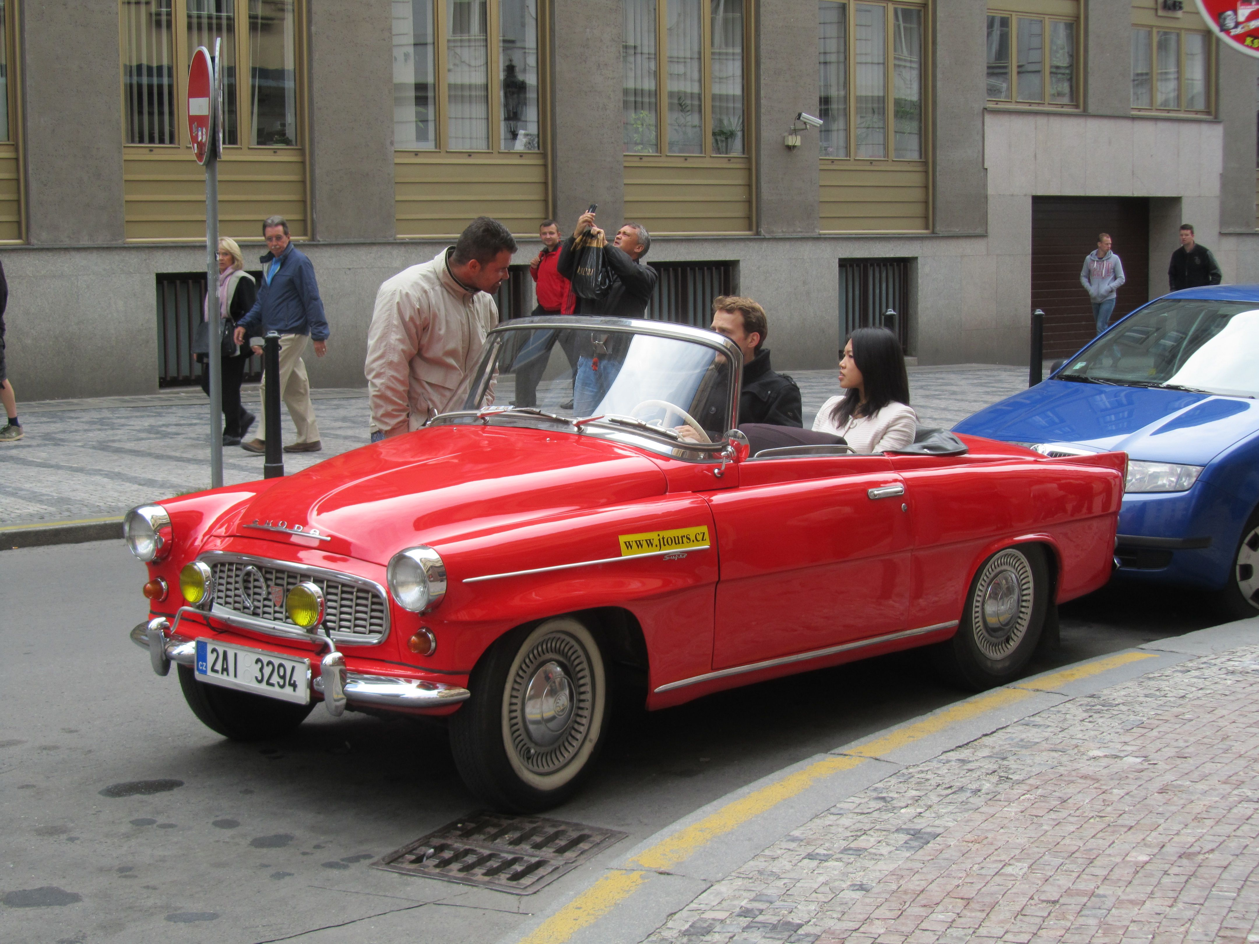 Skoda sight seeing car used for tourist in Prague. Top down makes it ...
