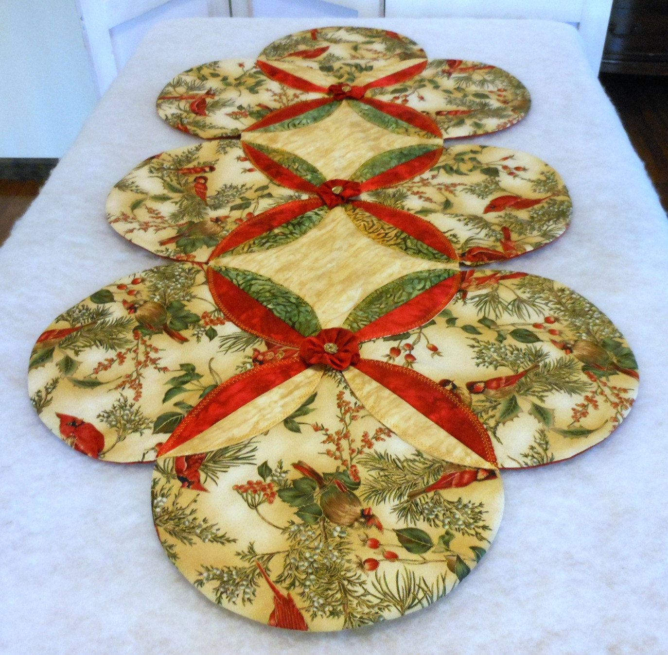 Christmas Tree Table Runner Quilt Pattern: Christmas Table Runner Cardinal Non-Traditional By