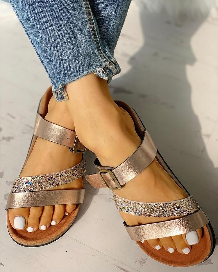 547ef6a97 Glitter Multi-strap Open Toe Flat Sandals in 2019