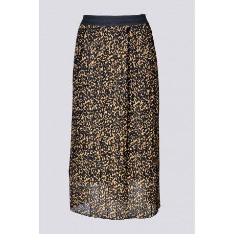 Jupe femme dsh 1090 beige noir plissee resille imprime leopard