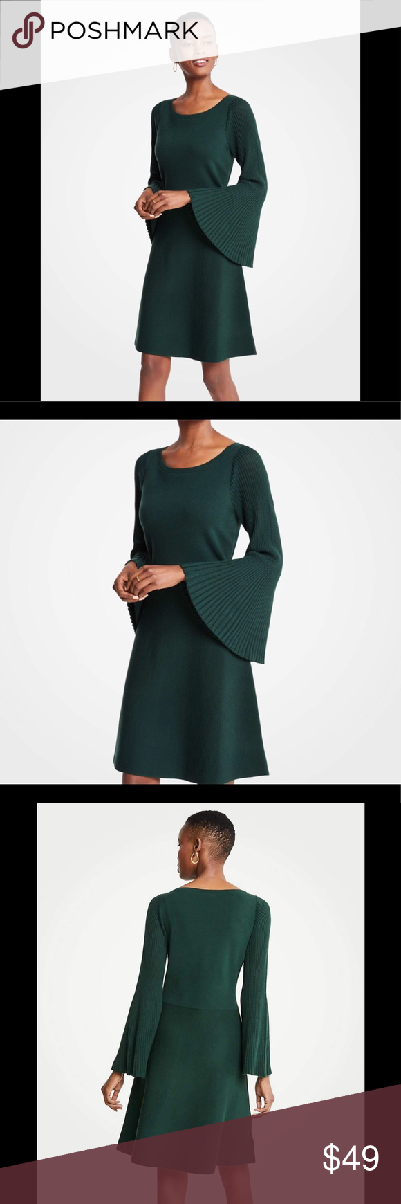 438c96a5478 ANN TAYLOR Petite Flare Sleeve Sweater Dress Sz Mp Turn up the volume with  our refined sweater dress