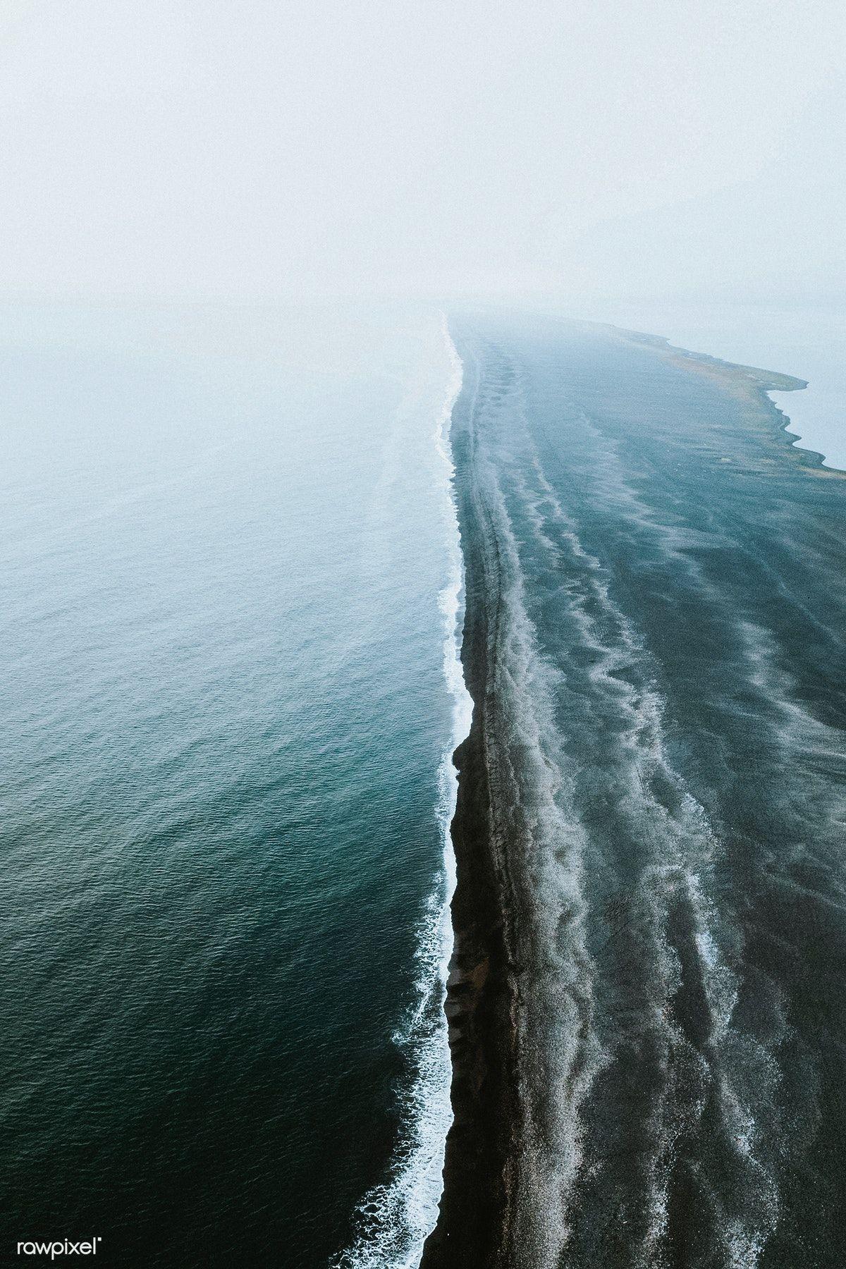 Download Premium Image Of Drone Shot Of Reynisfjara Black Sand Beach In Black Sand Beach Black Sand Beach Iceland Beach Sand