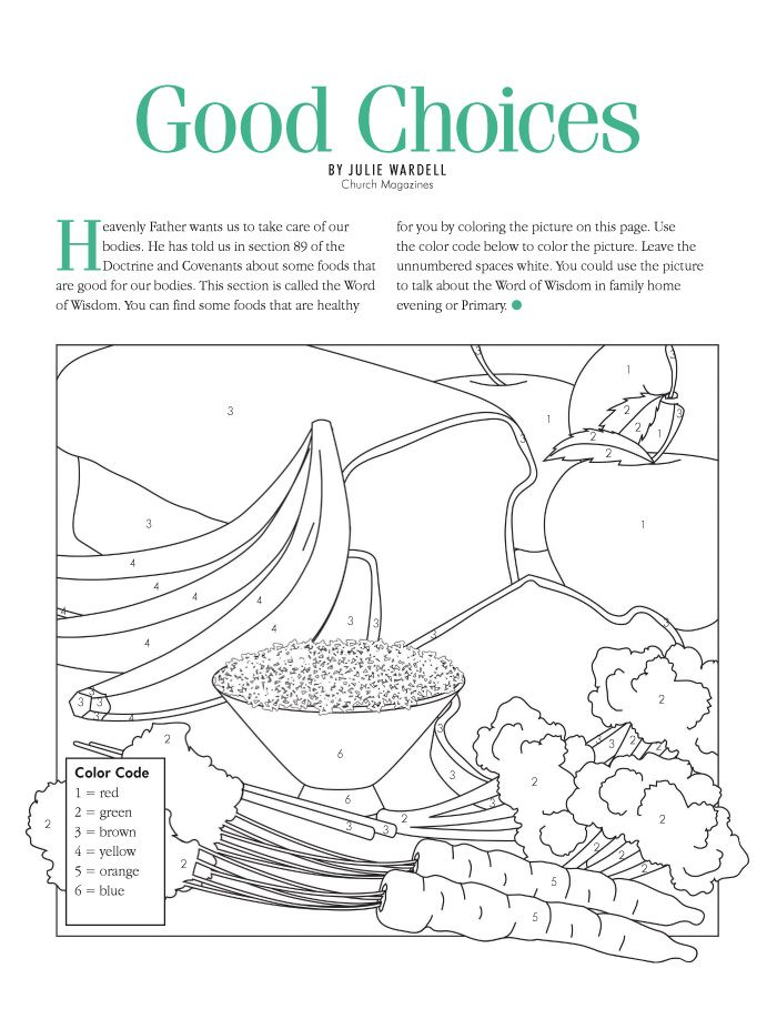 Word of Wisdom Coloring activity | Primary Ideas | Pinterest ...