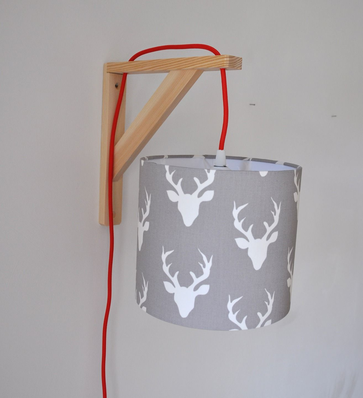 Lampe équerre - applique murale - abat-jour en tissu \