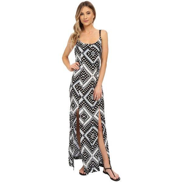 Hurley Poppy Maxi Dress (Black T) Women's Dress (115 BRL) ❤ liked on Polyvore featuring dresses, black, maxi dresses, open back dresses, slit dress, poppy print dress and poppy dress