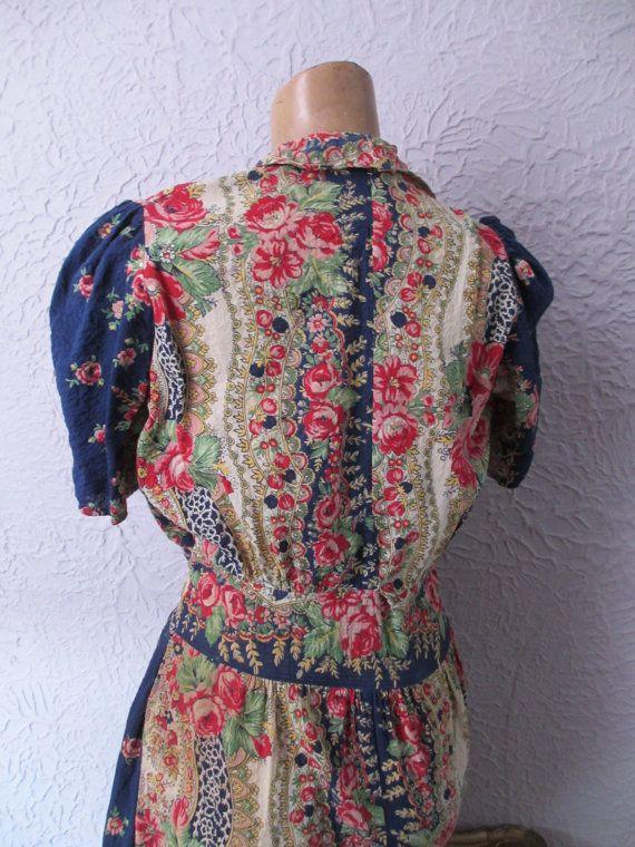 Bata vestido Floral años 30 VTG por PaisleyBabylon en Etsy