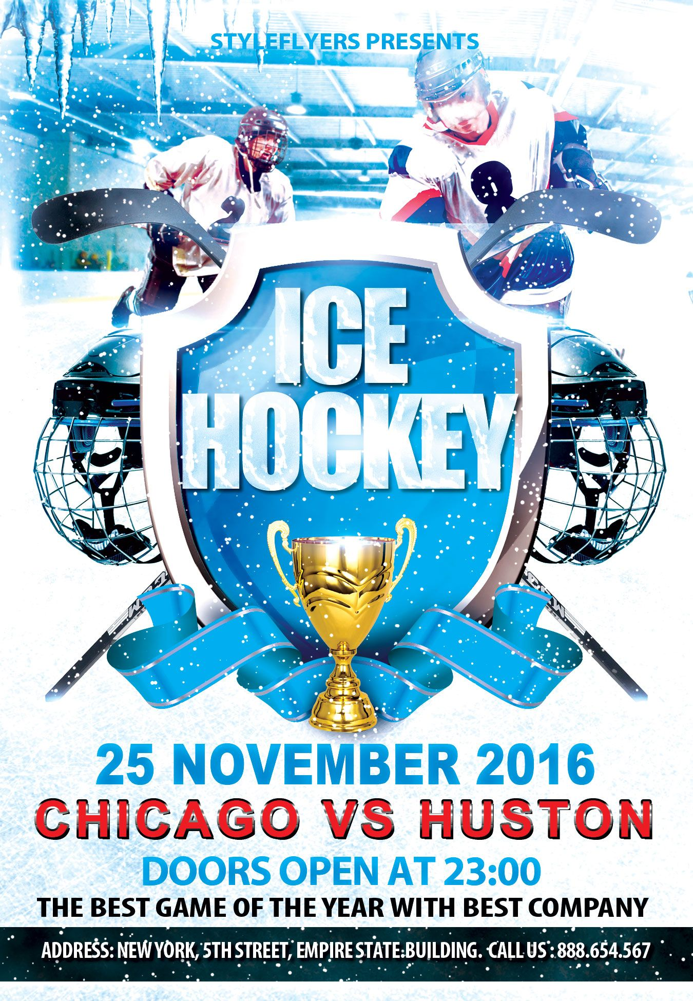 Ice Hockey Party PSD Flyer Template by styleflyers.com. This Ice ...