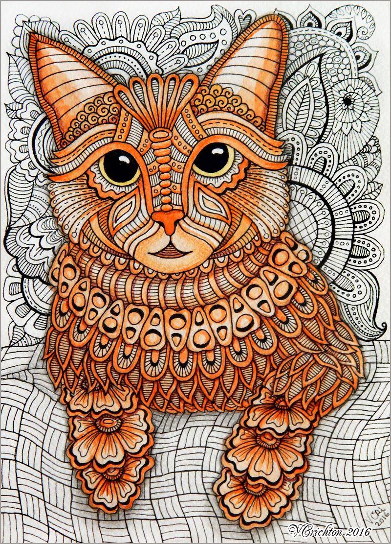 Zentangle Stylized Cat Illustration Gel Pen Watercolor