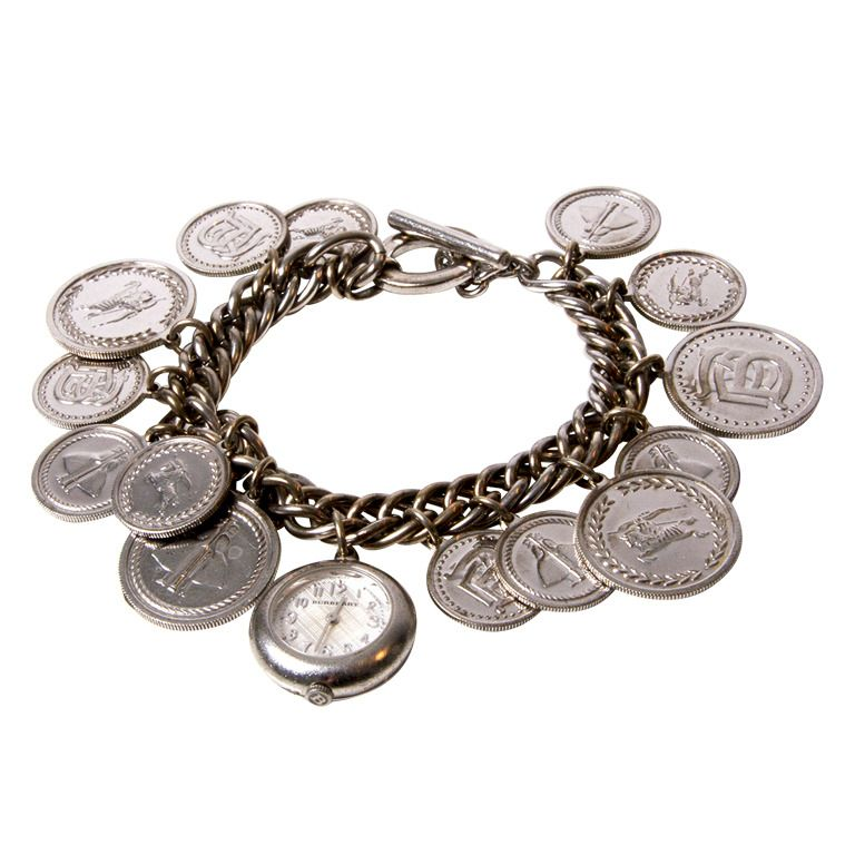 1438062a8 Burberry Lady's Sterling Silver Coin Charm Bracelet Watch BU5220 | From a  unique collection of vintage