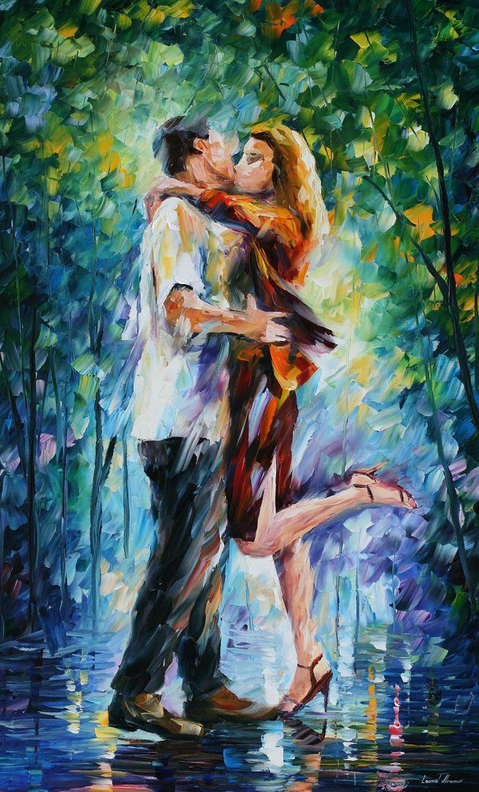 Beautiful Painting Of A Couple Kissing In The Rain I Find It