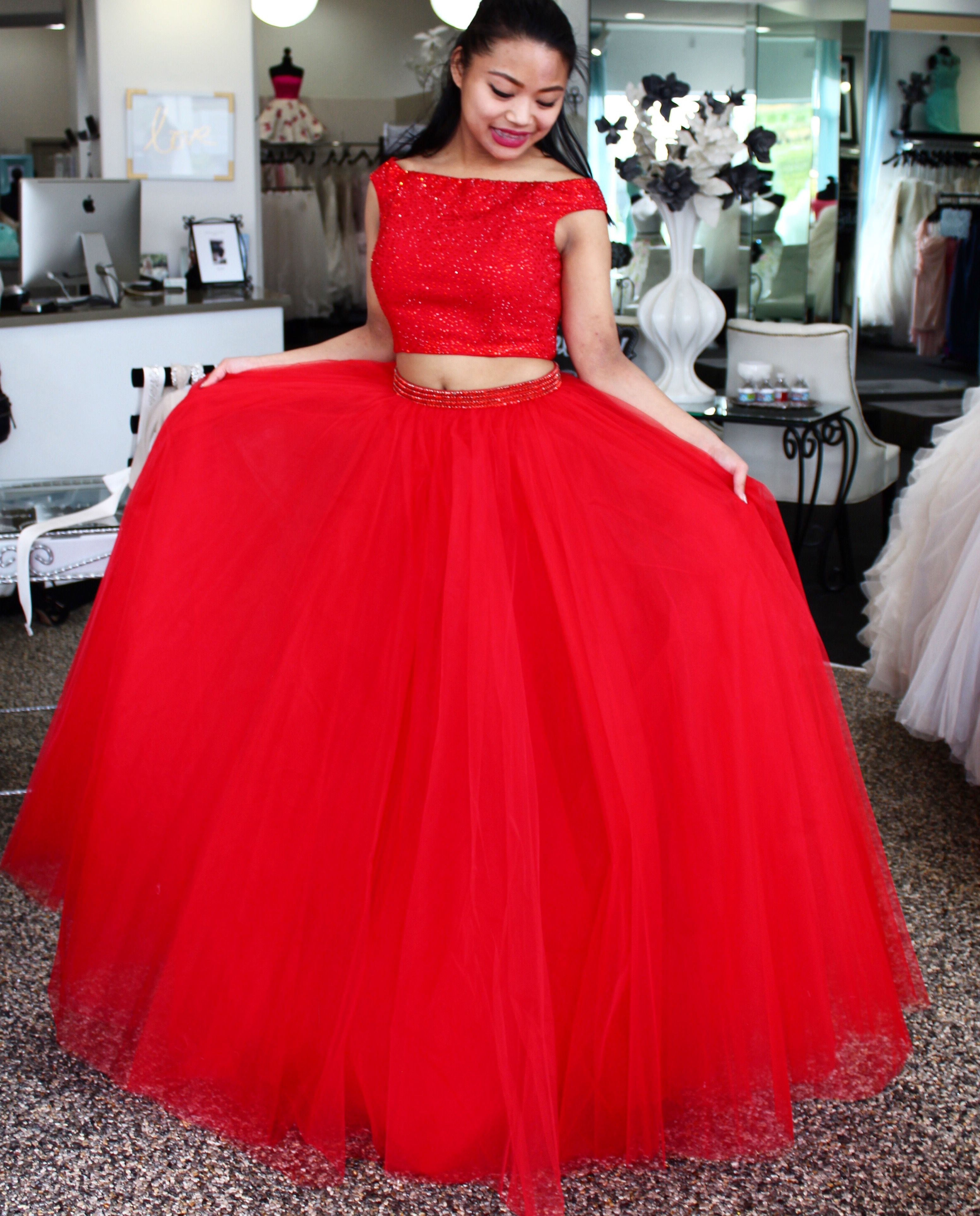 Firey hot in Sherri Hill. This two piece is off the shoulder beaded ...