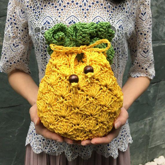 Pineapple Cross-Body Bag, Paper Yarn Crochet Shoulder Bag,Fruit Bag ...