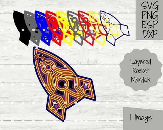 3D Rocket Layered Mandala SVG File Cricut and Silhouette Paper Cutting Craft Project Outer Space Clipart Toddler Decor Craft PNG Image