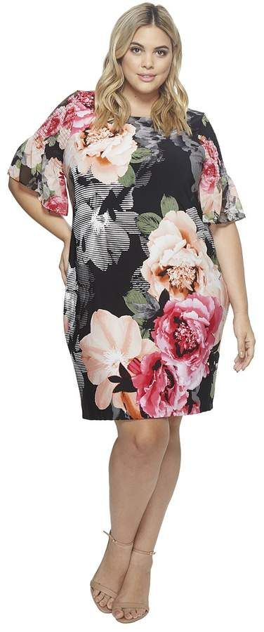 4e4c0159fd0d Calvin Klein Plus Plus Size Printed Gathered Sleeve Dress Women s Dress
