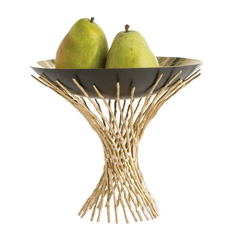 The gently twisted, solid brass twigs create a cradle that holds the simple yet elegant brass and bronze bowl. Inspired by nature and finished like fine jewelry, this centerpiece does not have to be filled with anything..it is beautiful just as it is.