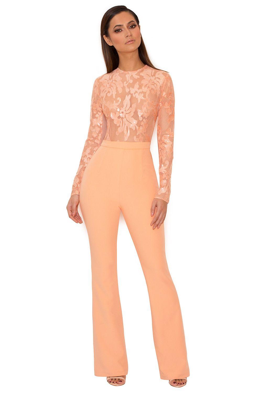 c56ca1794887 Clothing   Jumpsuits    Perla  Peach Sequinned Lace Jumpsuit