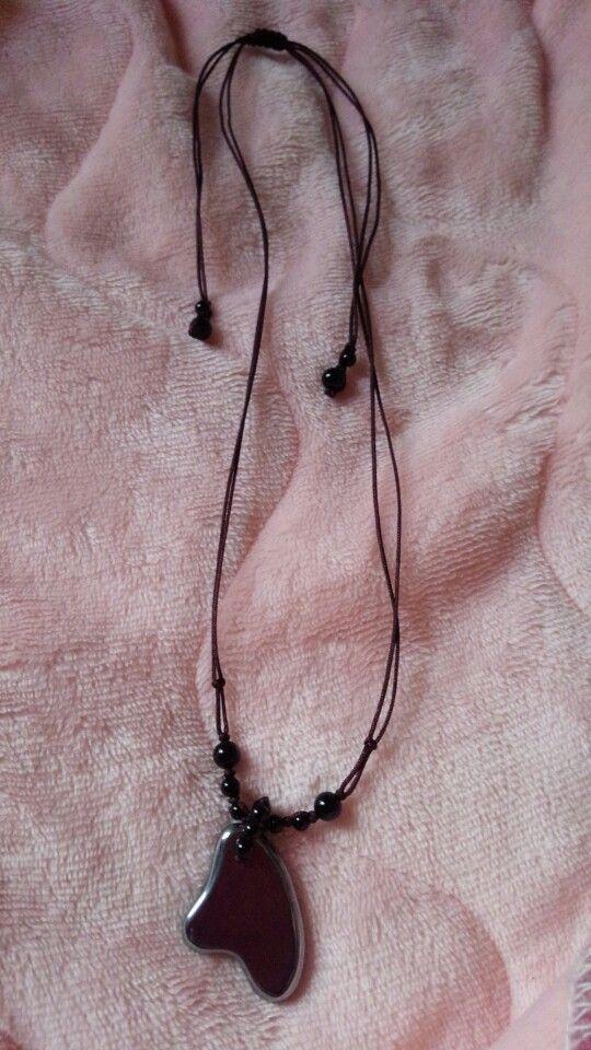 テラヘルツとオニキスで編みネックレスを作りました☆