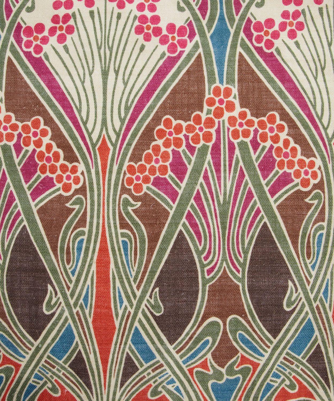 Brown Ianthe Print Linen Union, Liberty Furnishing Fabrics.