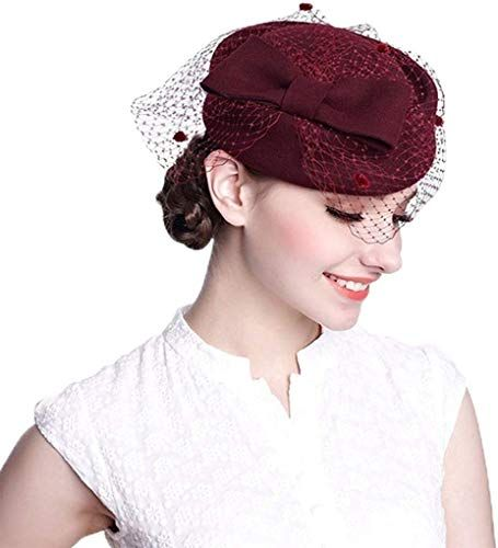 New Fedoras Fascinator Hat Vintage Style Wool Veil Pillbox Hats Women Wedding Hats Ascot Party Church Hats online #fascinatorstyles