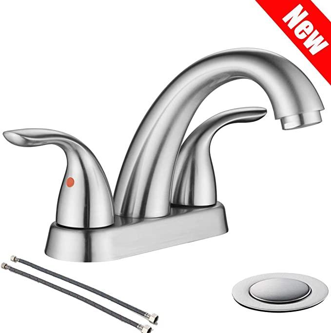 Valisy Two Handles Stainless Steel Brushed Nickel Bathroom Sink Faucet Bathroom In 2020 Bathroom Sink Faucets Brushed Nickel Sink Faucets Bathroom Sink Faucets Modern