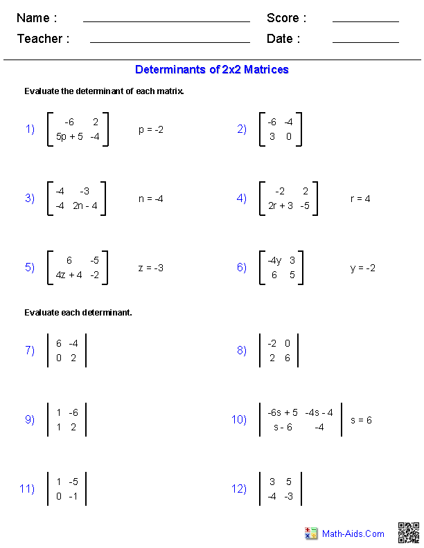 2x2 Determinants | Math-Aids Com | Algebra 2 worksheets