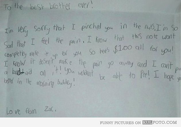 Im Sorry That I Pinched You  Funny Apologizing Letter From A Kid