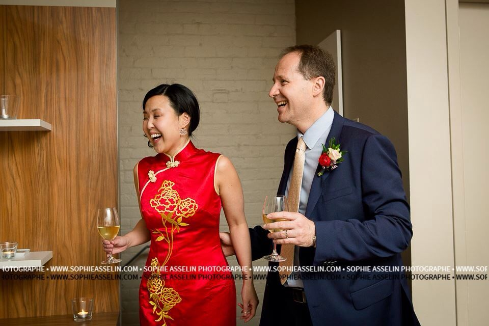 I changed into a qi pao (cheongsam) to toast at each table. Chinese wedding.